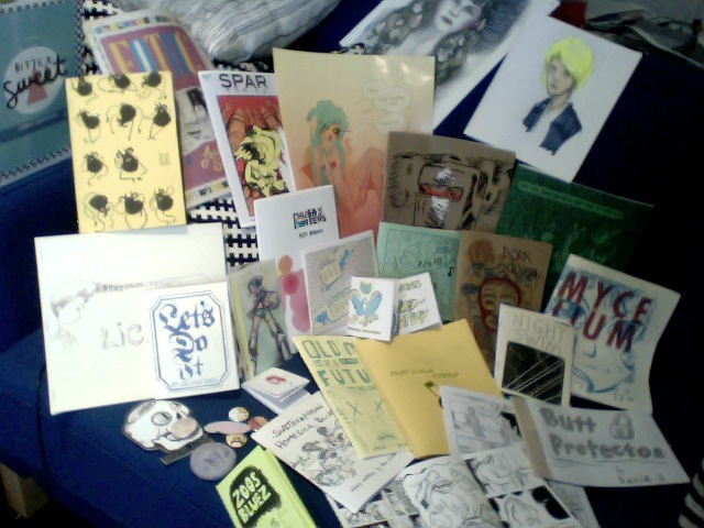 mocca 2012: there were definitely less people there compared to last year. but, still there was some lovely stuffs. here is some of the things i got. and you should especially check out:  josh bayer , leslie stein , nate dorr ,  pat aulisio ,  alabaster , box brown ,  rob corradetti ,  will krause ,  zejian shen ,  isam pradoa ,  bort ,  lily padula ,  kiki jones ,  fake heads ,  secret prison    and a shizton moarrr. the end