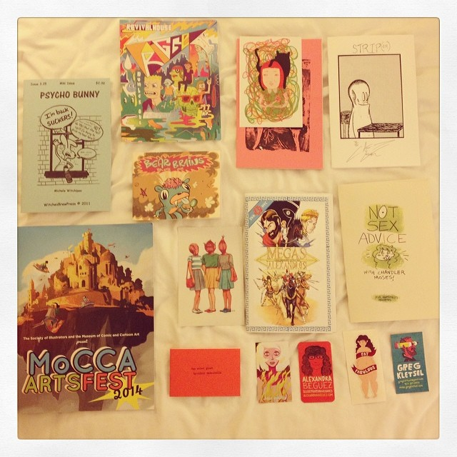 jellykoe :      lowerthanlowbrow :     Not only did we have a great #moccafest, we got to meet a lot of awesome artists     Our comic haul from MoCCA.  Wish we could've gotten so much more!       i spy holyhairscare and postcard:)
