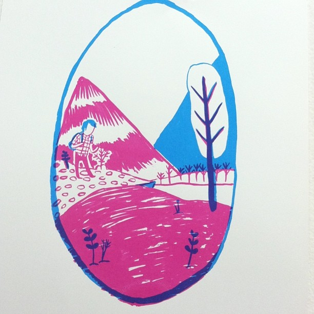 2 color print from my hiking series - i rly need to get my computer fixed so i can stop taking cellphone pix of everything