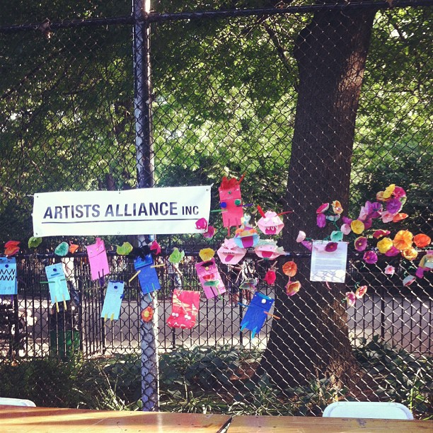 These flowers and puppets were donated for display by the kids and grownups who visited our table. Adorable day!       Art Around the Park at HOWL! Festival Tompkins Square NYC