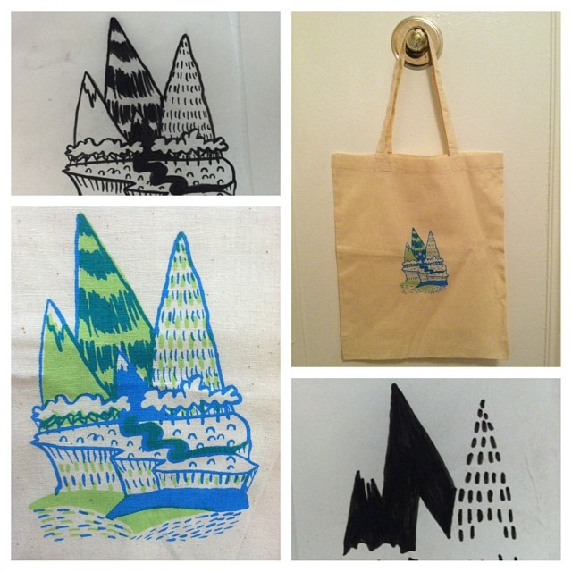 #making #printing #silkscreen  #bags #handmade #mountain #rivers #naturey