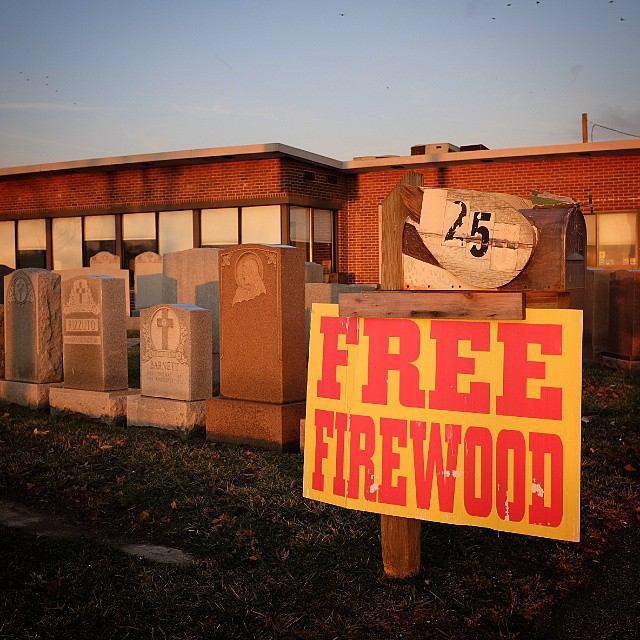 Don't forget to pick up your free firewood at your local headstone shop. In case you wanted to experiment in DIY cremations.