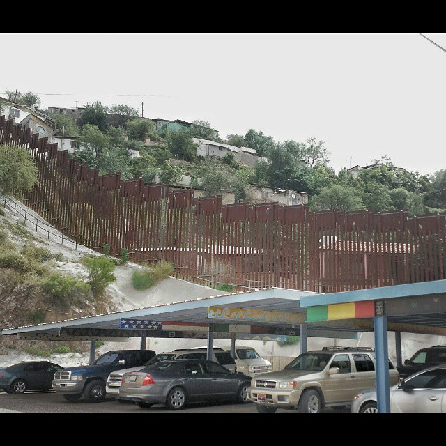 The fence that separates the Sonora Nogales (MEX) from Nogales (USA), as seen from the US. (at Nogalez Az.)