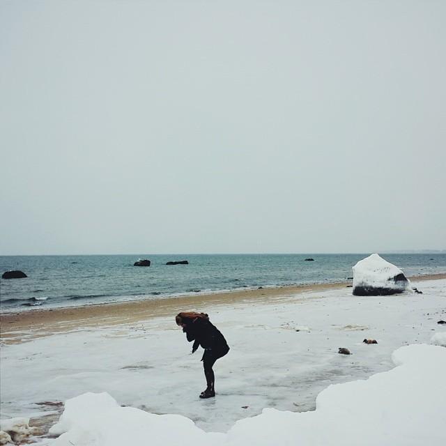 Sarah makes her way across the frozen beach. Long Island, NY