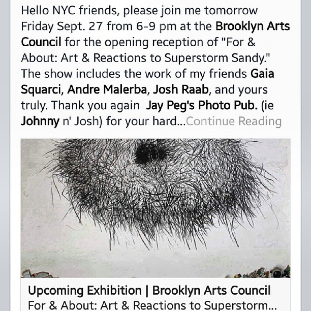 Hey! This opening is tonight. Come down get drunk and look at photos. Come see what hurricane sandy was like for some amazing photographers. Along with the gallery will be and extended slideshow with more work.