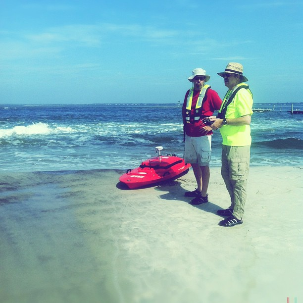 The USGS uses a Lighter Amphibious Resupply Cargo (LARC) and smaller Q Boats (pictured) to navigate and measure the geographics, salinity, and flow intensity and speed of the inlet that was created on Fire island but Hurricane Sandy.