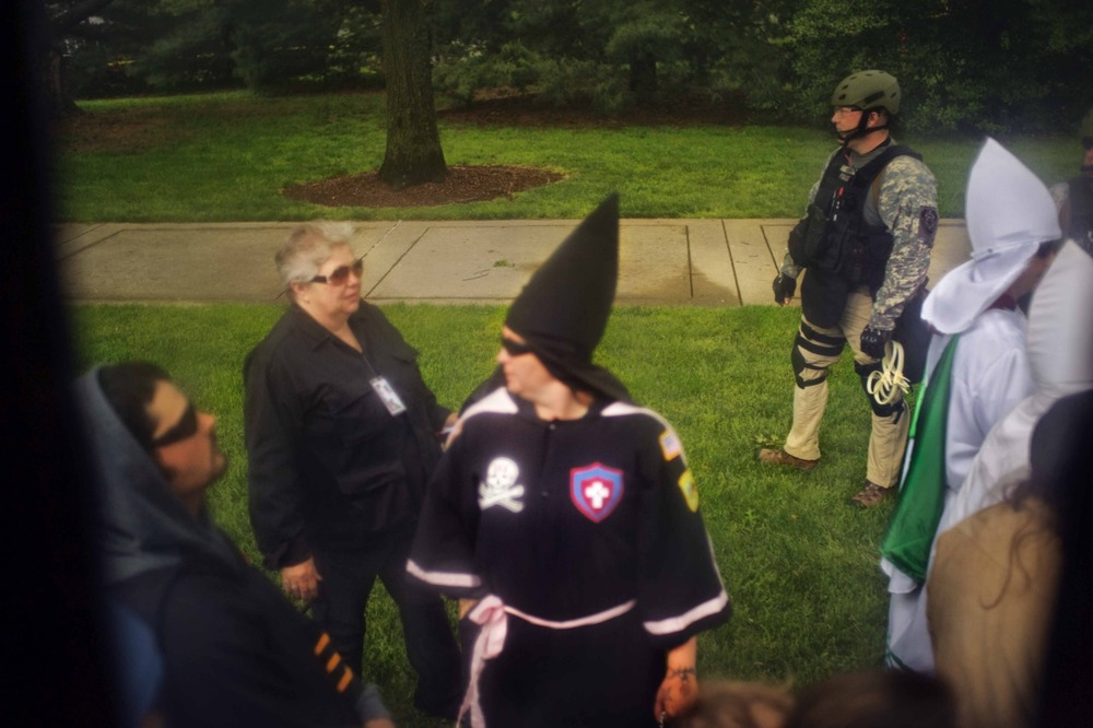 Kentucky's Knights of the Ku Klux Klan supported the NSM's rally on the capitol, Saturday April 21.  Extensive security and police were dispatched in order to guarantee safety.  Founded in 1974, NSM has gained extensive attention across the United States for it's politically oriented philosophies and actions. Among the core beliefs of the NSM are the preservation of America's European roots. Unlike the Knights of the Ku Klux Klan, the NSM is not a religious oriented organization but a militarily and politically structured organization.