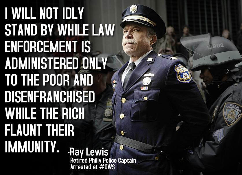 truedemocracy: Retired Police Captain Ray Lewis was arrested while protesting with Occupy Wall Street on November 17, 2011 photograph by Johnny Milano I hate text plastered all over photographs.  If you're going to desecrate photos put it in the caption.  Particularly with my own images.