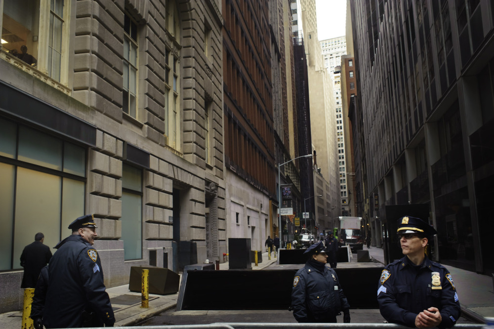 Occupy Wall Street, New York. NYPD block access to routes leading into the heart of Wall Street.  The roadblocks, combined with the massive amount of demonstrators prevented a number of employees from getting to work.