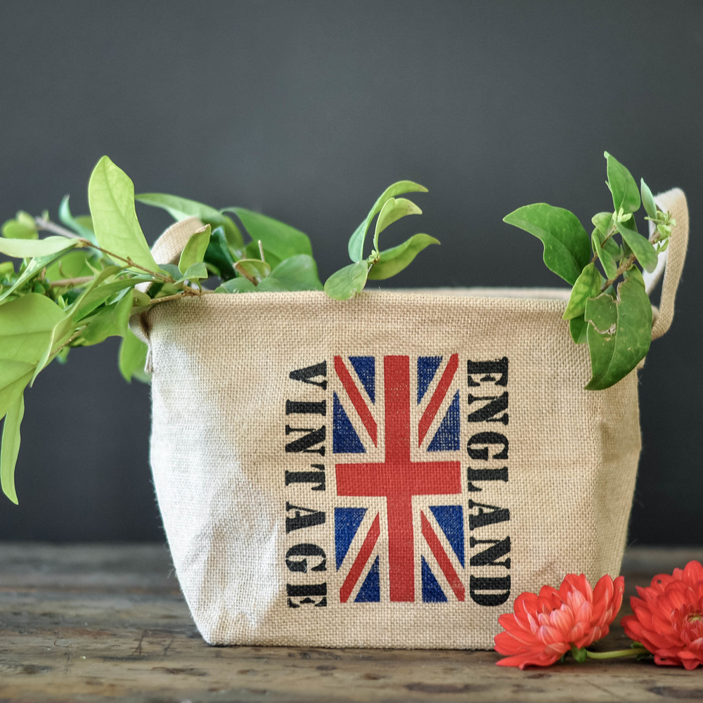 Vintage England Basket by The Copper Anchor & Co.