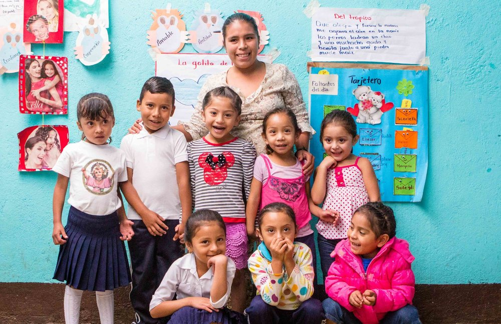 Students at Zacarias Centeno Preschool, the first school built in this community.
