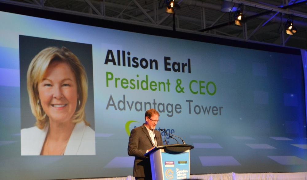 Featured: Jeff Doran, President, CCEOC Inc., announcing Allison Earl, President of Advantage Tower, as a recipient of the 2016 Top Canadian Telecom CEO Award.