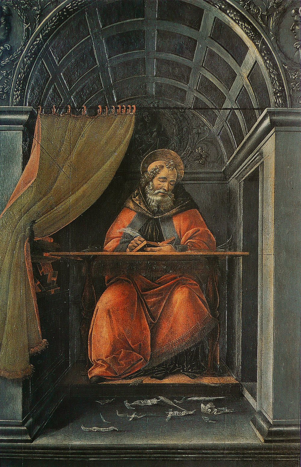 Saint Augustine in His Study, Sandro Bottticelli, completed 1490-1494.  There he is, writing brilliant zingers!