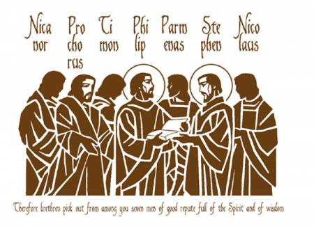 "The seven ""men of good standing"" appointed by the early Church to serve the needs of the community (see Acts 6) and later recognized by Church tradition as the first deacons."