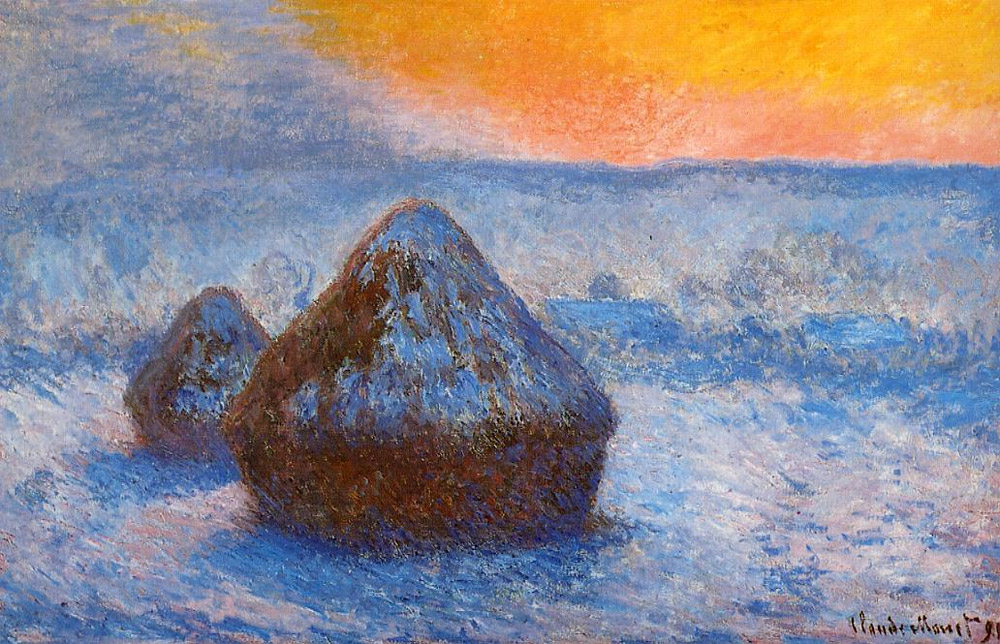 Claude Monet,  Grainstacks at Sunset, Snow Effect,  1891