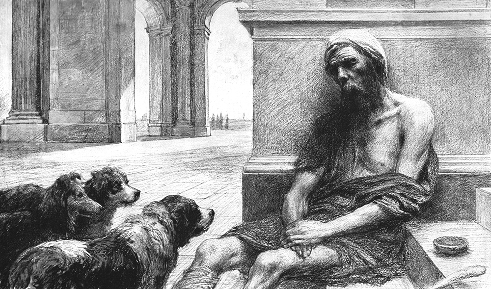 A series of drawings of the parable of the Rich Man and Lazarus by Eugene Burnand (1850-1921).