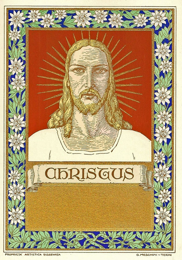 Christus  by Giovanni Meschini, goache-painted pochoir print (Courtesy Sacred Art Pilgrim)