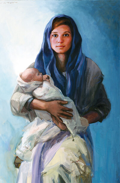 """The Visitation"" by Stephanie Morris. Published here with permission of the artist. © Stephanie Morris 2012. To visit Stephanie's website and view information about purchasing a print (all proceeds benefit Catholic Relief Services),  click here ."