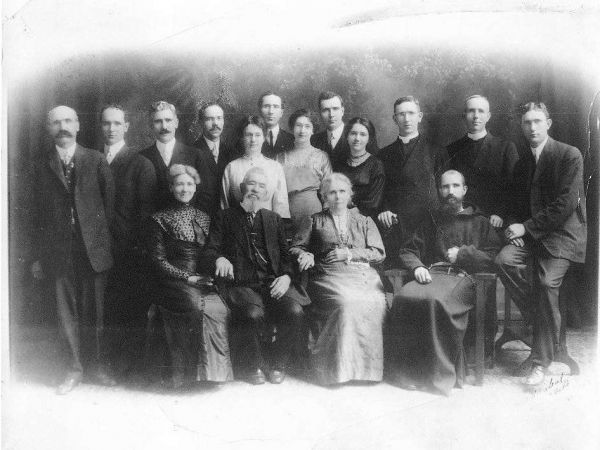 Fr. Solanus (in Capuchin habit) with his parents and siblings on the occasion of his parents' 50th wedding anniversary in 1913. B.J.'s grandmother Genevieve is the woman in the center of the picture, behind her parents.  Photo courtesy of the Father Solanus Casey Guild.