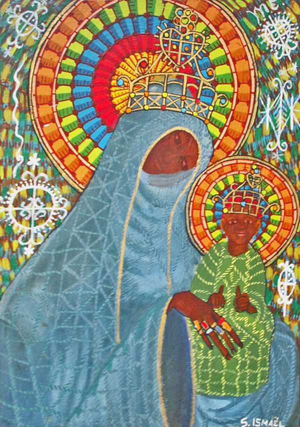 Saincilus Ishmael, Acrylic on Wood, Courtesy    Sacred Art Pilgrim   .