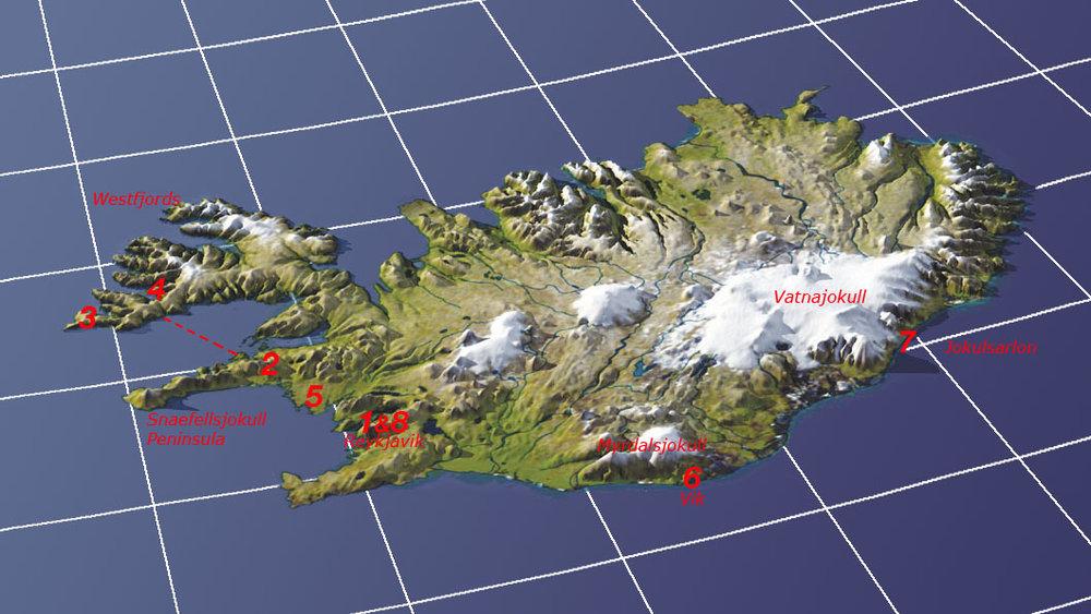 1. Reykjavik  2. Snæfellsnes Peninsula  3. Látrabjarg  4. Dynjandi  5. Borganes  6. Vik  7. Jökulsárlón  8. Reykjavik