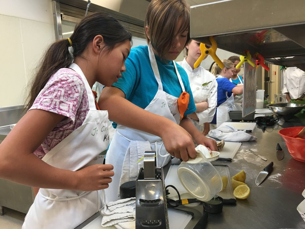 Everything begins here - This is where they learn the basics: knife safety,kitchen sanitation, menu reading and preparation, nutrition facts & fiction, label reading,shopping on a budget, table settings, dining etiquette and more!