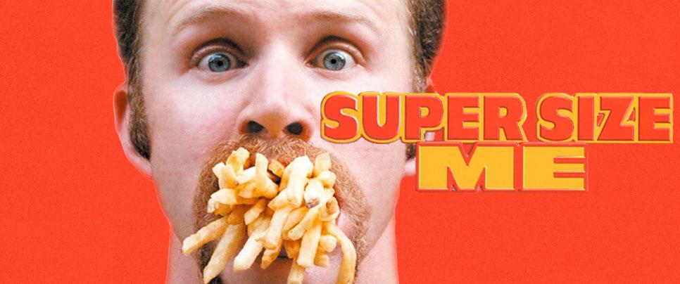 """I dokumentarfilmen """"Super Size Me"""" fra 2004, viser Morgan Spurlock hvad der sker, hvis man hver dag lader sig lokke af fastfood-firmaernes tilbud om større portioner."""