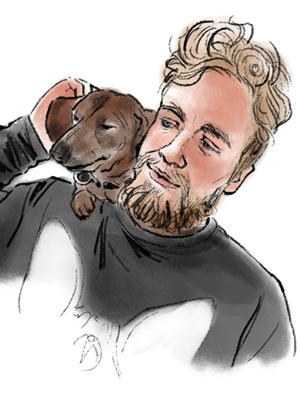 Senior Creative Kayle and his dog Mickey