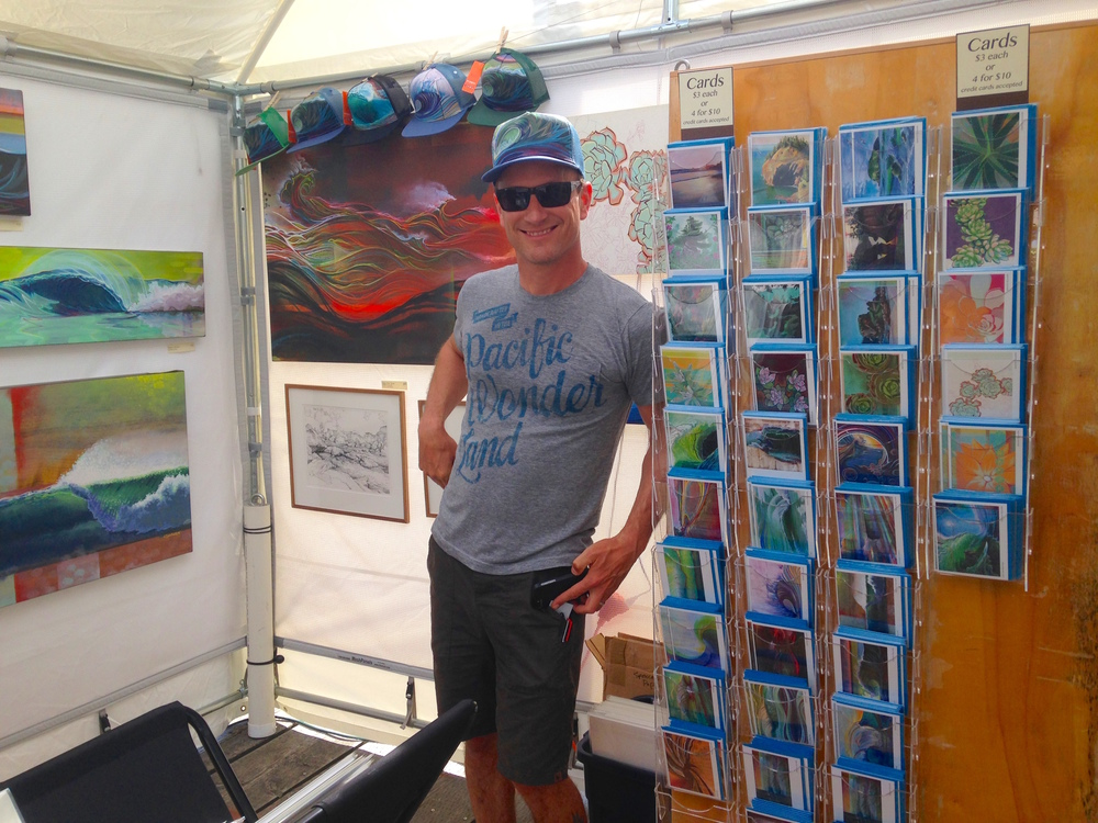 Reynolds in his booth at the 2015 Azalea Festival in Brookings, Oregon. Photo: Kew.