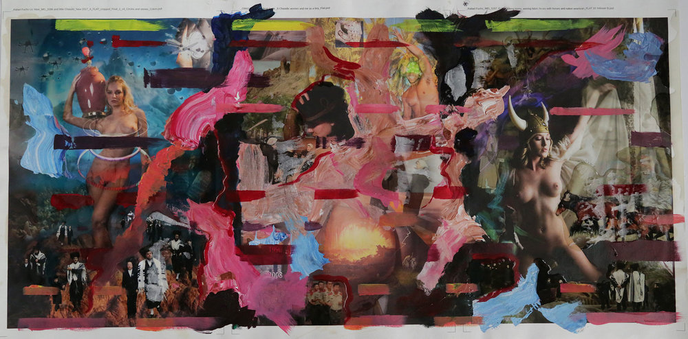 """The Golden Calf, Lot's Wife and Esther #3"" 2017 mixed media  20x42.5"""