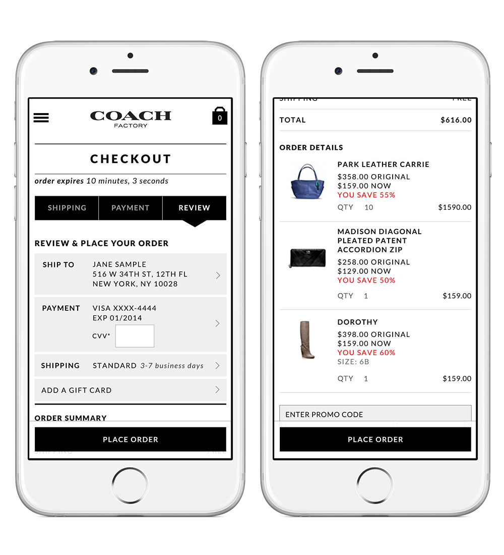 Persistent Order Button - Inventory in a flash sale moves fast. Additionally, the items in a user's cart is only held for 10 minutes. By reducing the steps required to complete checkout and creating a persistent order button on mobile, the new experience lends itself to promote impulse buying.