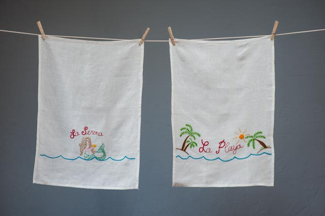Today, we are here to announce our new Sal del Mar product line.. hand-embroidered tea towels and bar towels. .