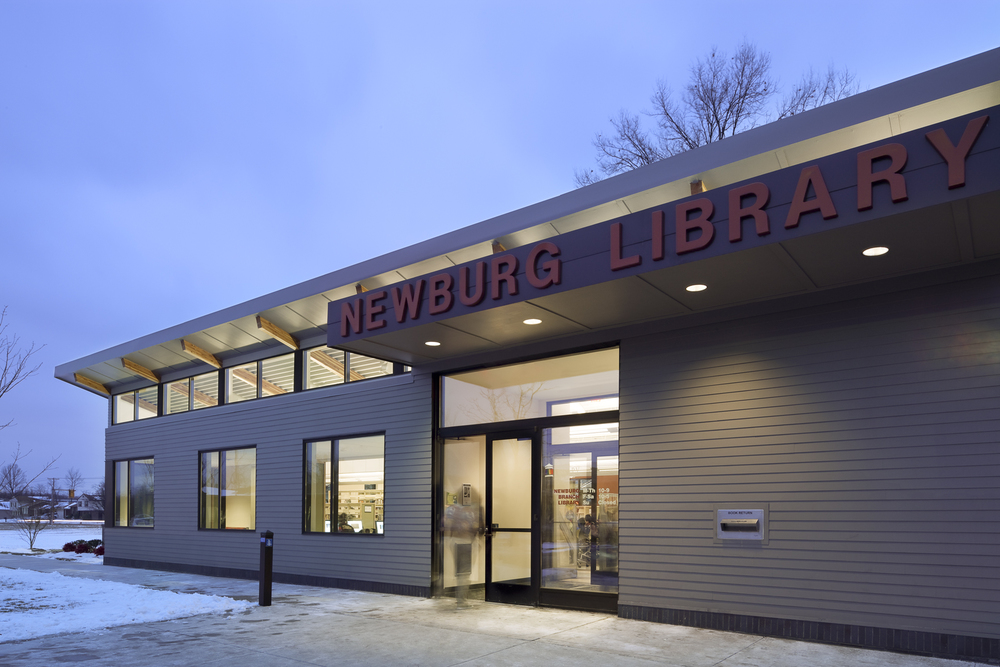 "Built with advanced ""green"" technologies and eco-friendly architectural design, the Newburg library was awarded LEED Silver-certification in 2011."