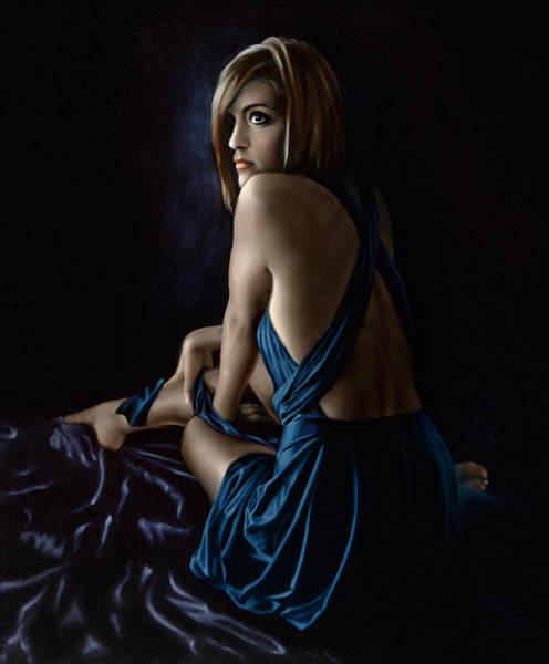"Femme en Bleu 1: 36"" x 30"" Oil on Canvas"