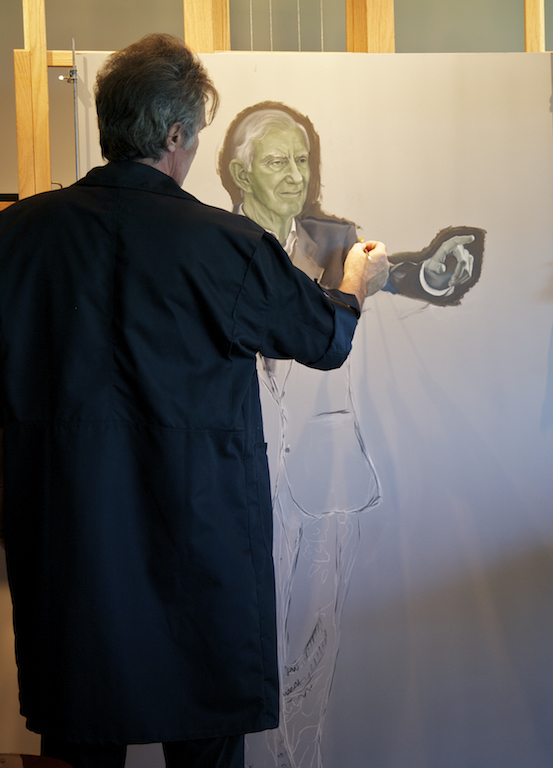 Adding the gray-green painted layer called verdaccio to the portrait of Nathanial Reed, one of the  Guardians of the Everglades .