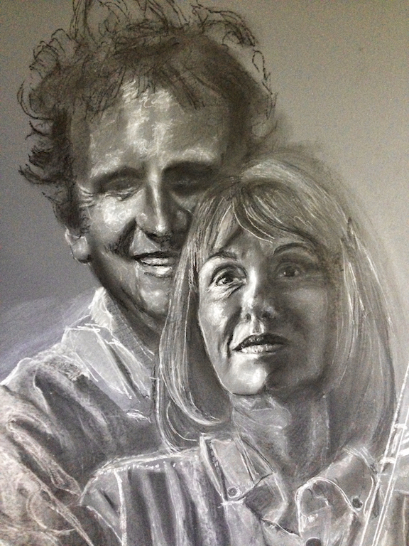 Chalk drawing, the first part of a portrait.