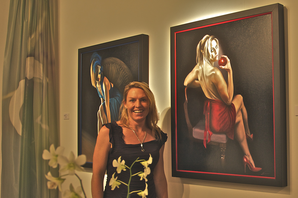 Kiersten Mooney with her portrait, Original Sin