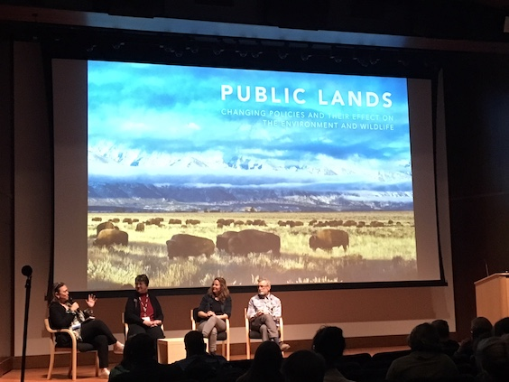 """Public Lands are under political threat.  You own them.  They are ours!  On the left, Caroline Niemczyk of the Trust for Public Lands."""