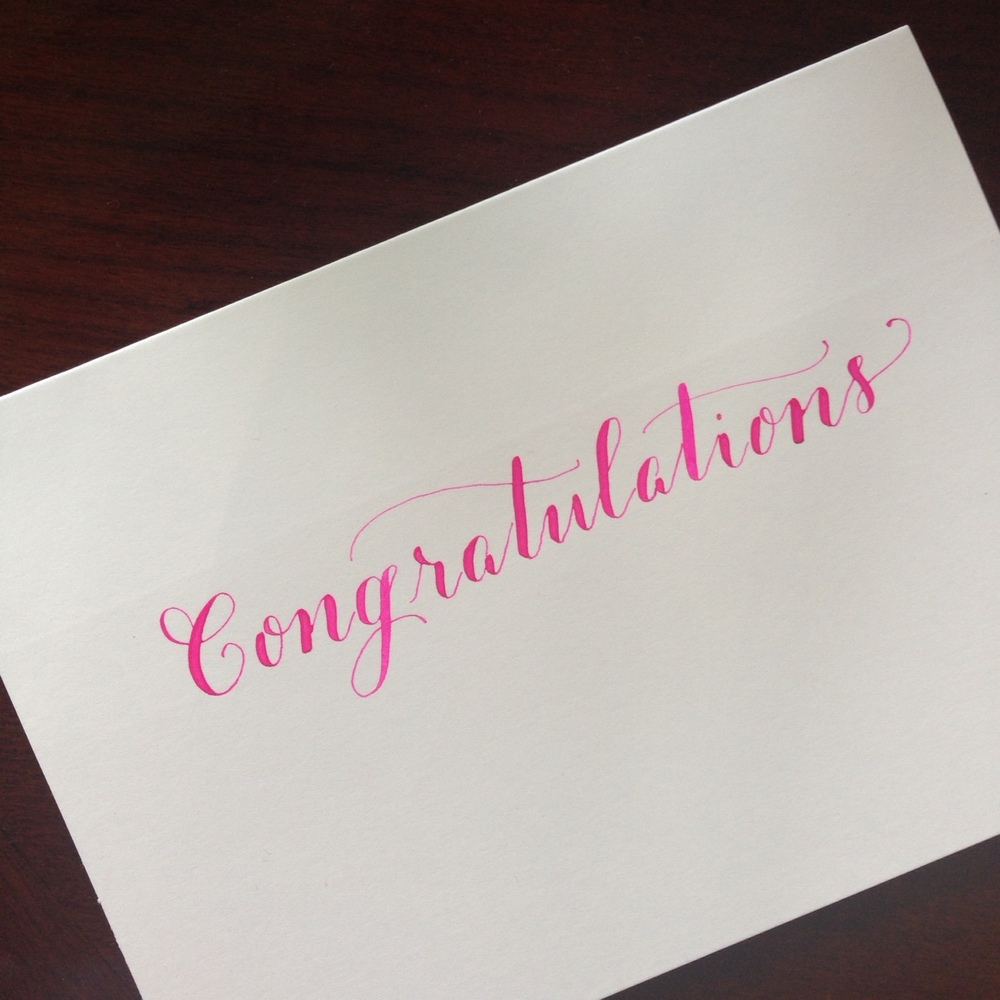 Pink Congratulations | Natalie Grace Calligraphy Co.