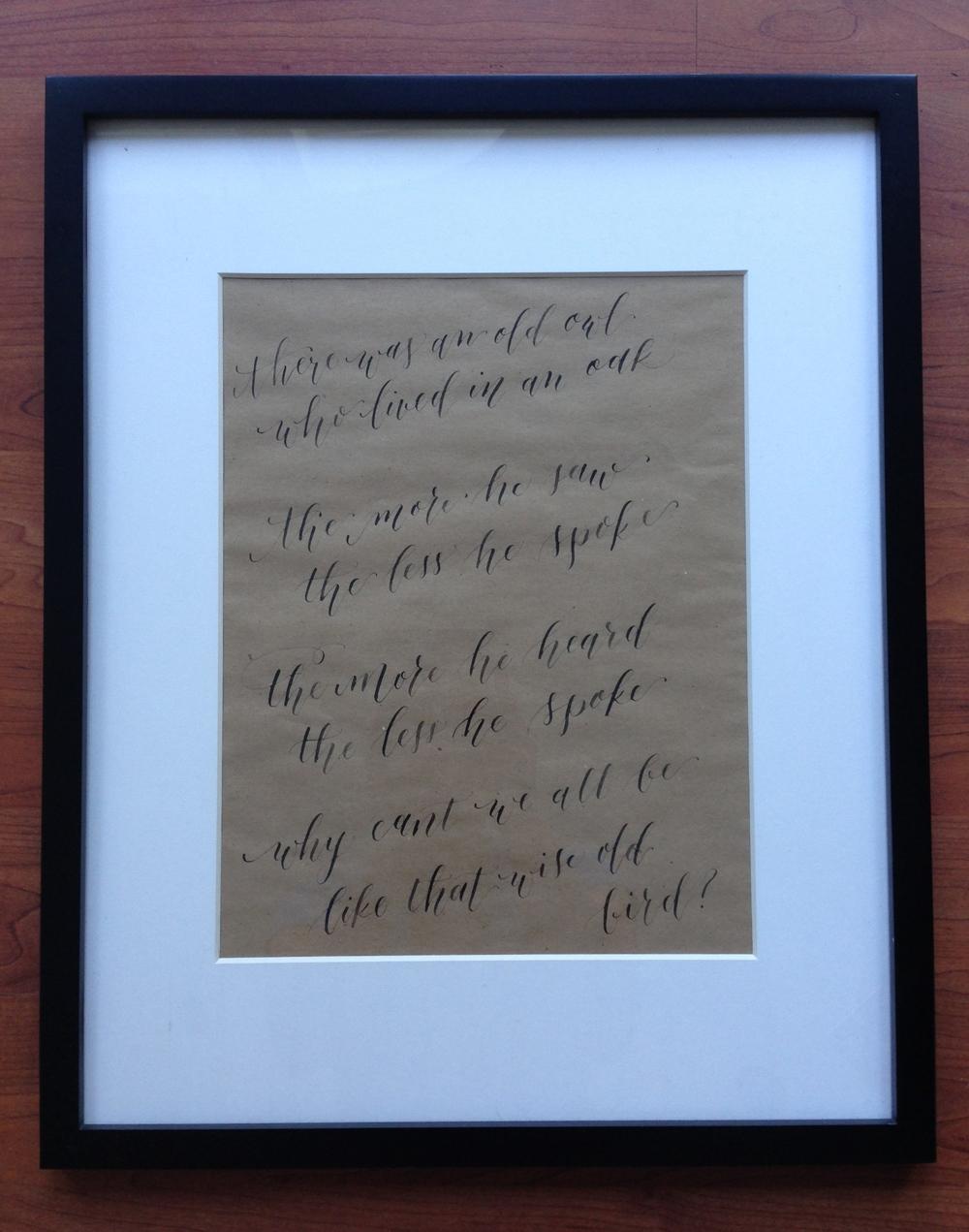 Framed Owl Poem | Natalie Grace Calligraphy Co.