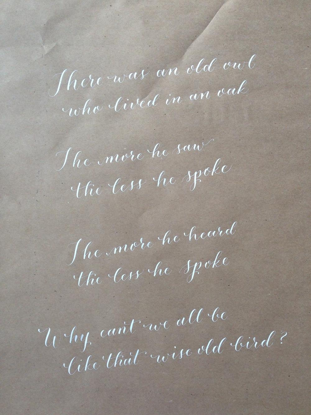 Classic Owl Poem | Natalie Grace Calligraphy Co.