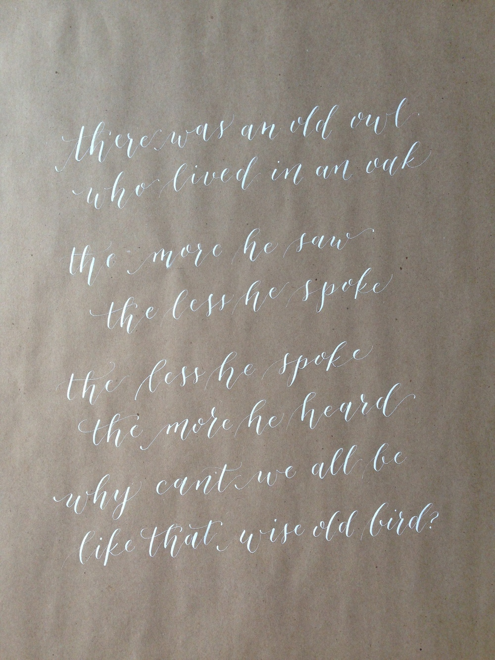 Contemporary Owl Poem | Natalie Grace Calligraphy Co.