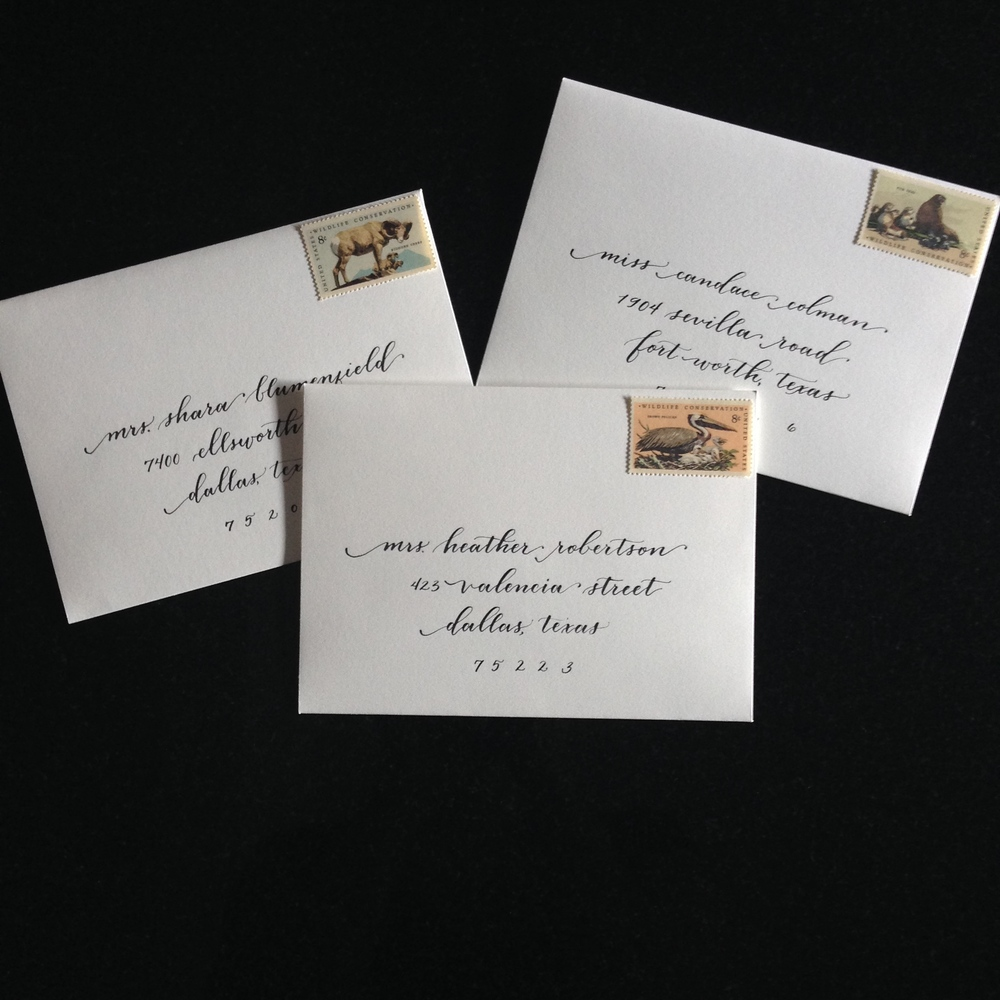 Swooping Baby Shower Envelopes | Natalie Grace Calligraphy Co.