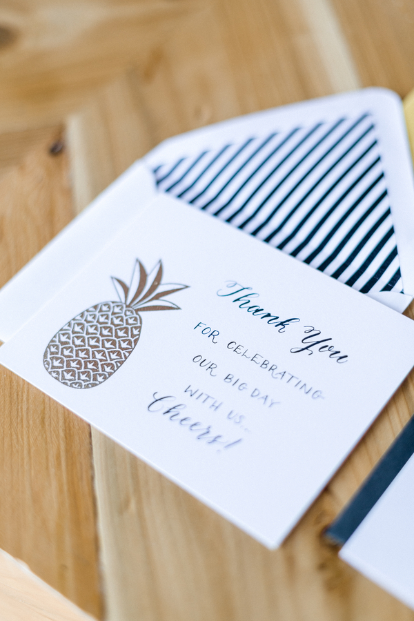Thank you | Preppy Pineapple | Jen Rios Weddings | Amanda Watson Photography | Pink Champagne Paper | Natalie Grace Calligraphy Co.