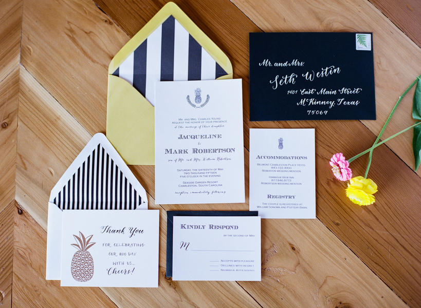 Invitation Suite | Preppy Pineapple | Jen Rios Weddings | Amanda Watson Photography | Pink Champagne Paper | Natalie Grace Calligraphy Co.