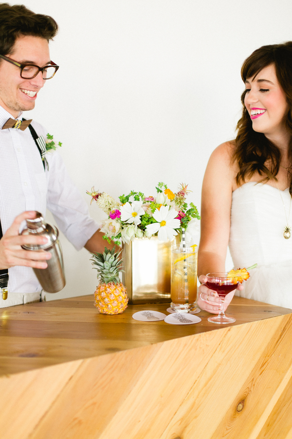 Cocktail Couple | Preppy Pineapple | Jen Rios Weddings | Amanda Watson Photography | Pink Champagne Paper | Natalie Grace Calligraphy Co.