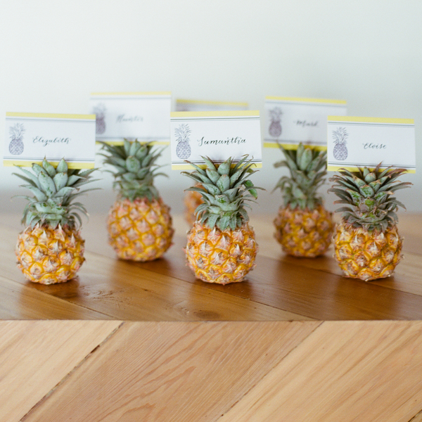 Pineapple Escort Cards | Jen Rios Weddings | Amanda Watson Photography | Pink Champagne Paper | Natalie Grace Calligraphy Co.