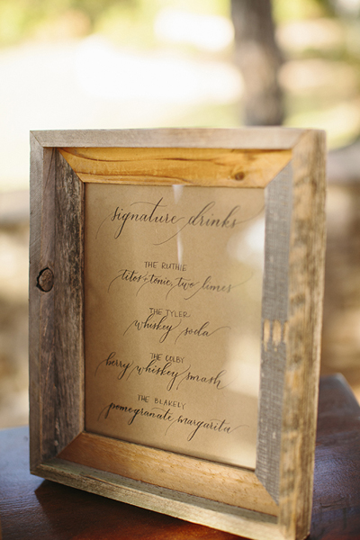 Drink Menu | Ruthie + Tyler | Sara + Rocky Photography | Natalie Grace Calligraphy Co.