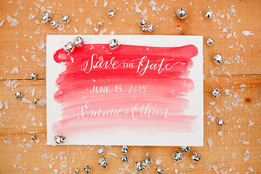 Christmas Save the Date | Lindsey Shea Photography | Natalie Grace Calligraphy Co.