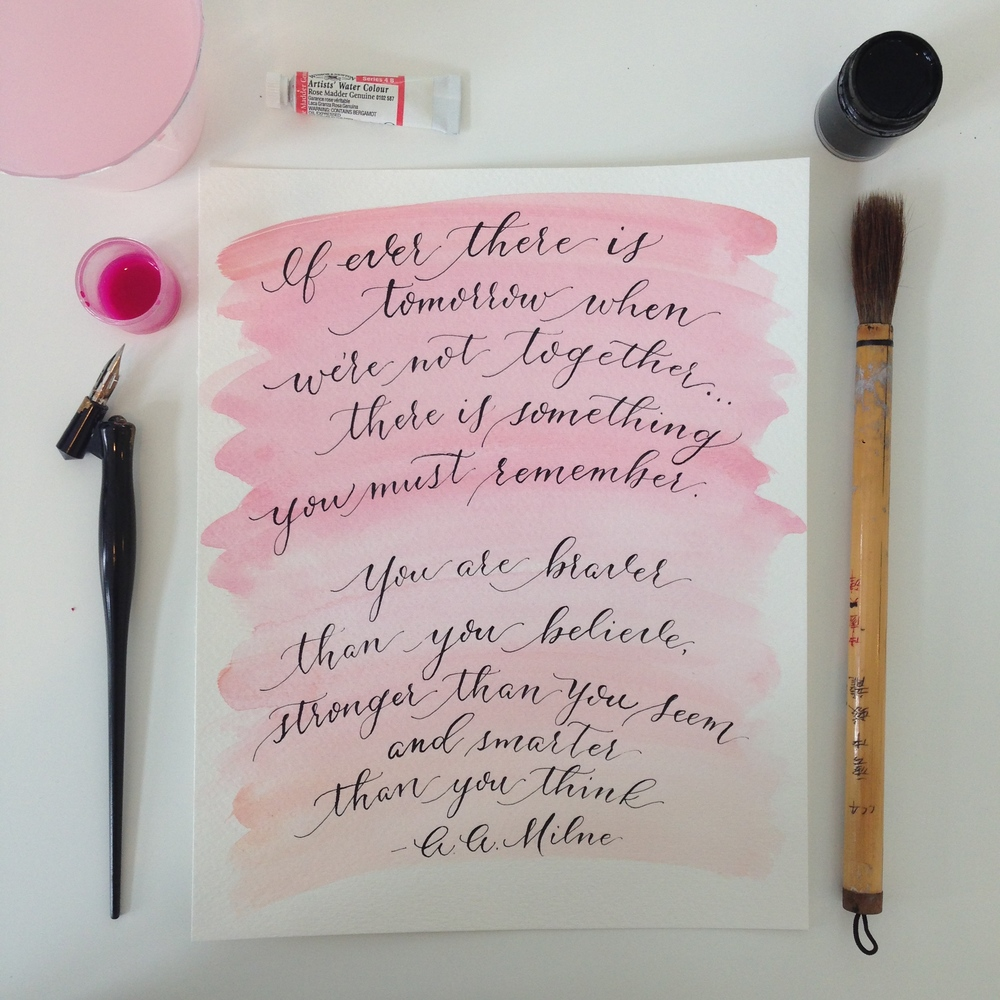 AA Milne Watercolor Quote | Natalie Grace Calligraphy Co.